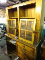 Antique wood 2 piece cabinet.Remove...