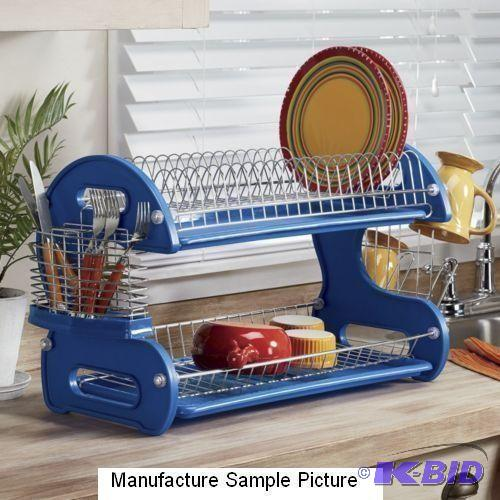 Home Basics 2 Tier Dish Rack Gorgeous Home Basics 60 Tier Dish Rack Blue Win It Warehouse 60 KBID