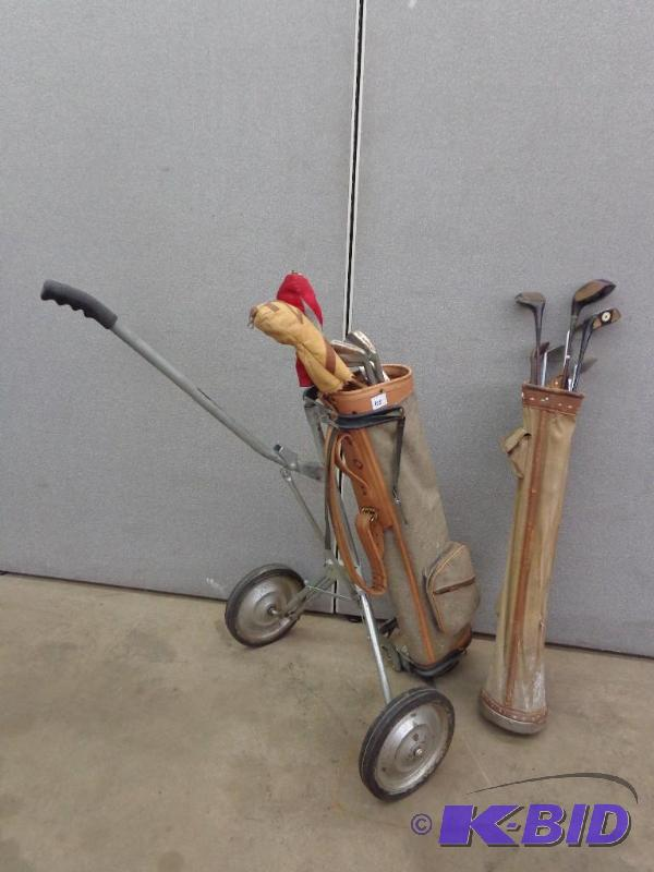 Vintage Golf Clubs Bags And Pull Cart Some H Antiques Collectibles No 1 K Bid
