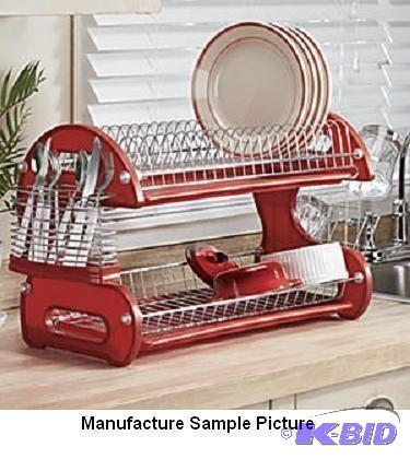 Home Basics 2 Tier Dish Rack Awesome Home Basics Two Tier Dish DrainerRed 60T Win It Warehouse
