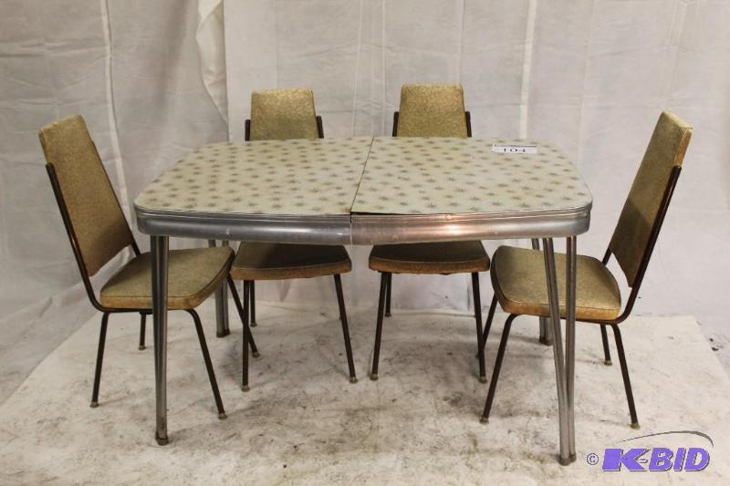 50u0027s Retro Kitchen Linoleum Table With 4 Vinyl/metal Chairs. . . | It Tales  All Kinds Furniture Surplus Sale | K BID