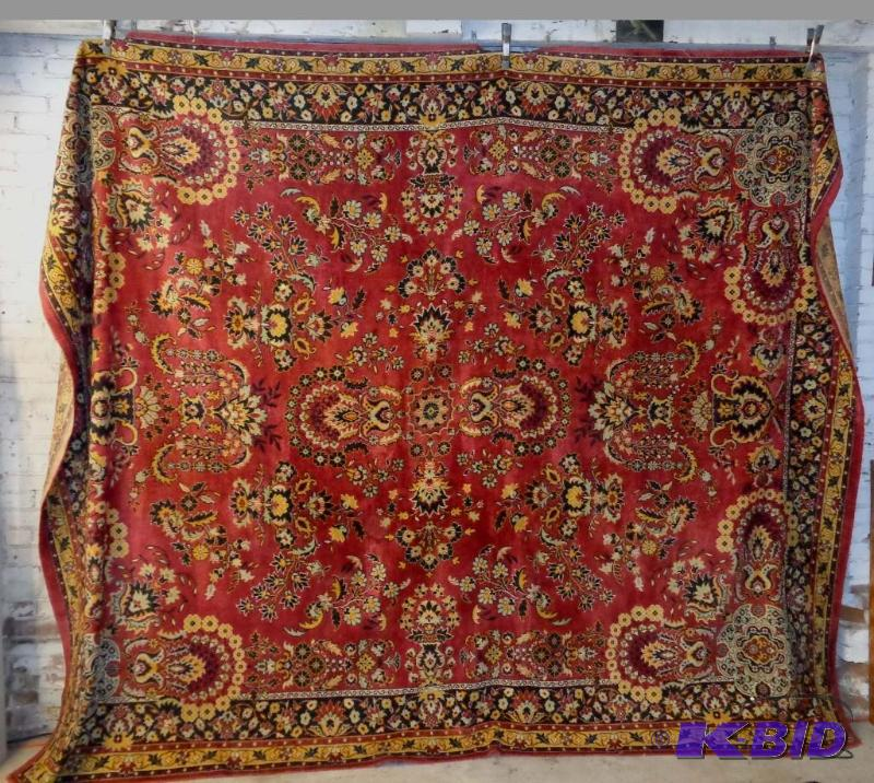 Vintage Large Traditional Tapestry Rug Burgundy Red