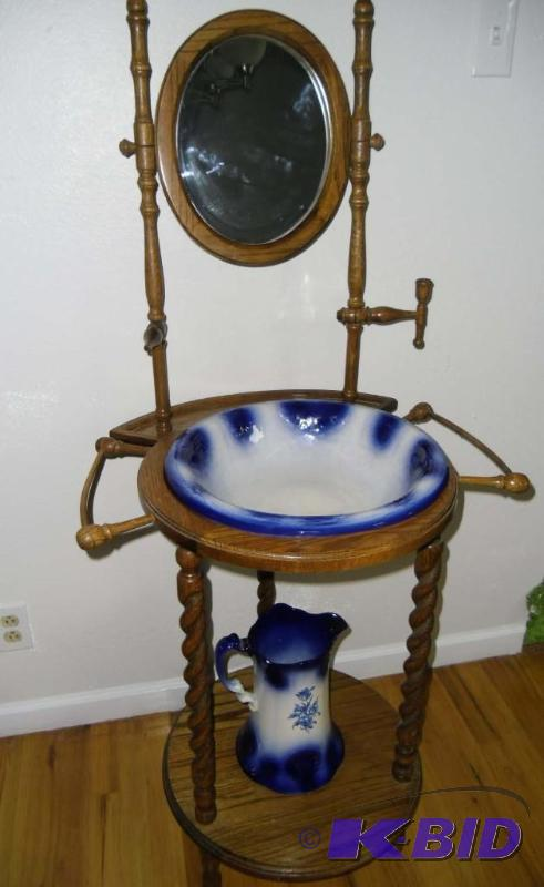 Vine Cobalt Blue White Wash Basin Pitcher On Wood Stand With Mirror A Bit  Of Everything