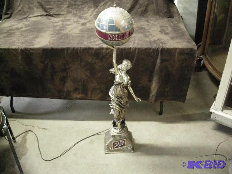 Vintage Schlitz Bar Lamp Lady With Globe Premier Lifetime Collection Antique Unique Collectible K Bid