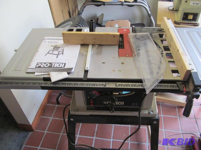 Pro tech 4008 10 table saw man cave inventory reduction tool hardware auction 05 k bid Pro tech table saw