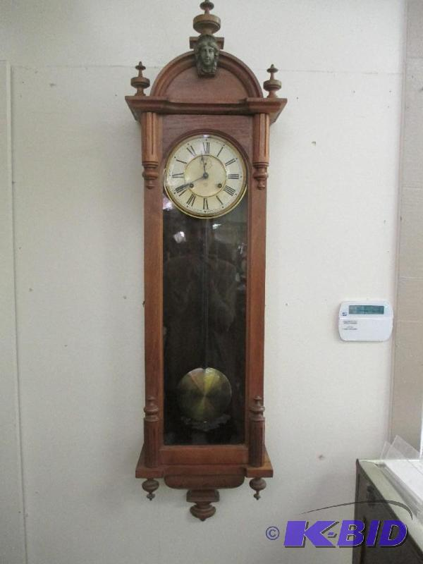 Ansonia Capital Wall Clock Walnut Longdrop Antique Clock