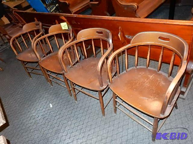 4, Captains Chairs.. Have Bent Wood Arms, Sho... | Vintage And Retro Decor  And Lighting, Restaurant Fixtures | K BID