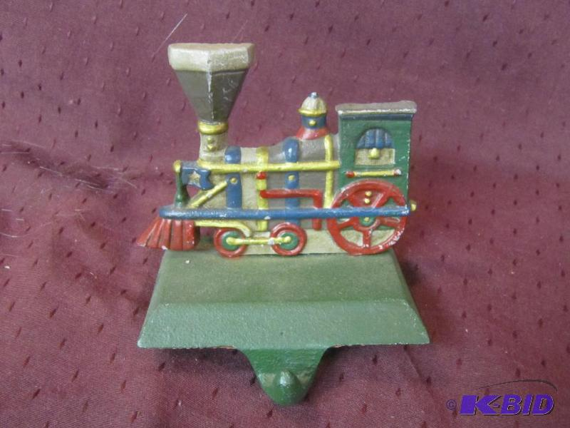 Christmas Train Cast.Collectible Xmas Cast Iron Stocking Holder Midwest Train