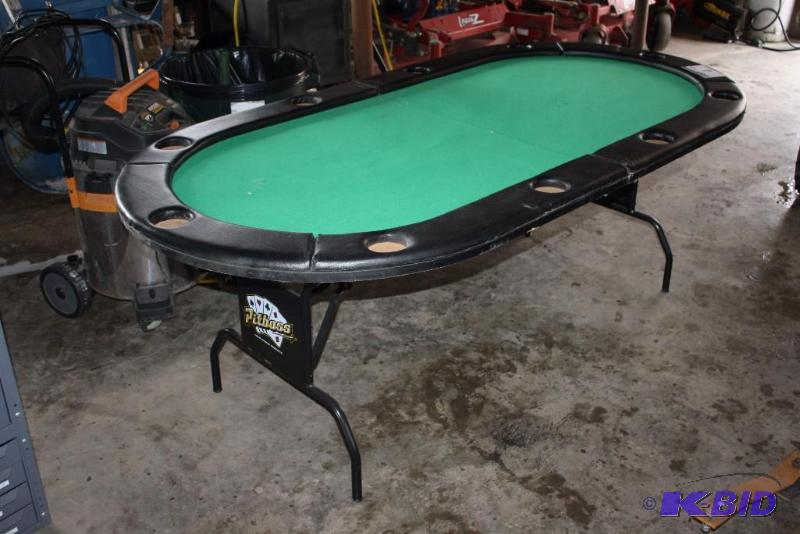 Pitboss Home Casino Products Folding Poker Table W/Folding Legs U0026  Cupholders; Green Matte/Leather. | Quality One Automation Liquidation Sale  | K BID