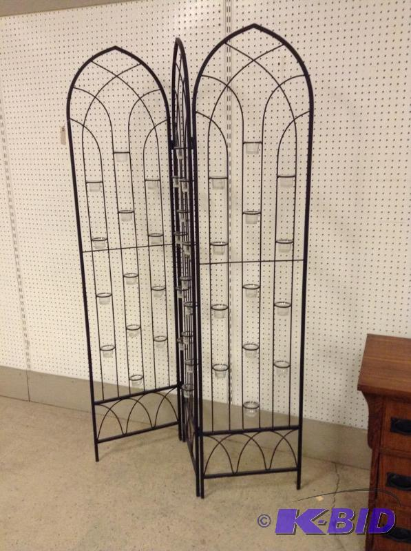 Large Wrought Iron Wall Divider Candle Holder March Estate And