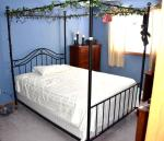 Metal ornate Queen Bed frame, mattress and bo...