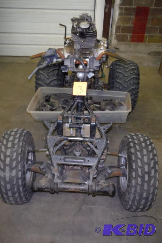 85u0027 Honda Fourtrax 250cc Four Wheeler Frame, Motor, And Parts, Serial #  JH3TE0601GC148532 | Auction 203 Four Wheelers, Washer And Dryer, Standing  Tanning ...