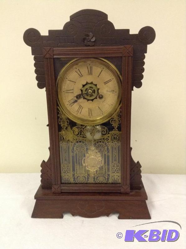 Old Ansonia Wooden Kitchen Style Clock Fantastic Antique