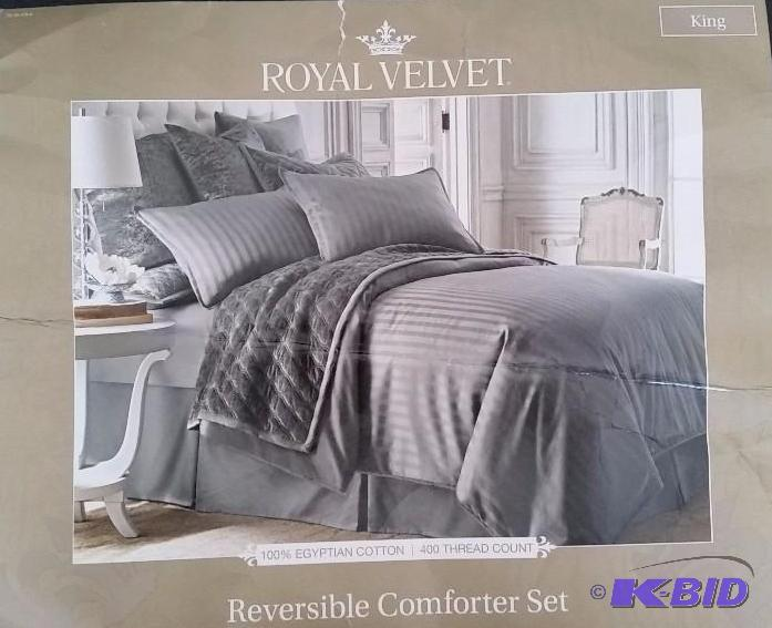 royal velvet reversible king comforter set lustrous steel just between the sheets 149j kbid - Royal Velvet Sheets