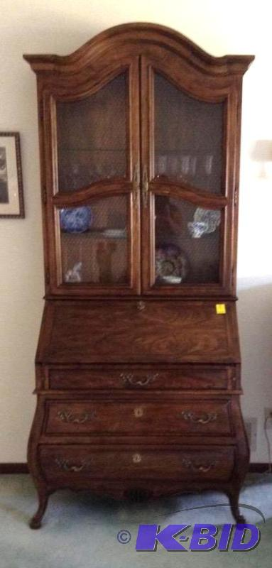 Beautiful Drexel Secretary With Lighted Hutch Roseville