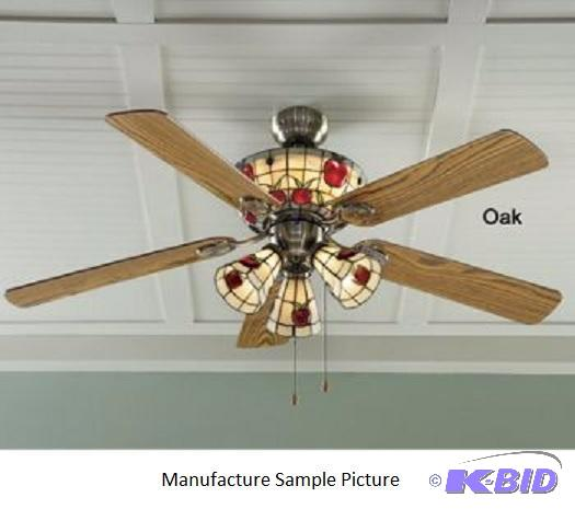 Stained Glass Apple Ceiling Fan - Staine...